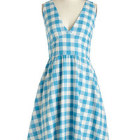 Americana Long Sleeveless Fit & Flare Pretty as a Picnic Dress in Gingham
