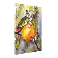 Orange and Blossoms Watercolor Painting Canvas Print