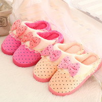 Thick Crust Cotton Winter Lovely Lace Home Anti-skid Slippers [9067743172]