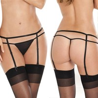 Sexy Women Lady Suspender Garter Belt G-String Thong Set For Stocking
