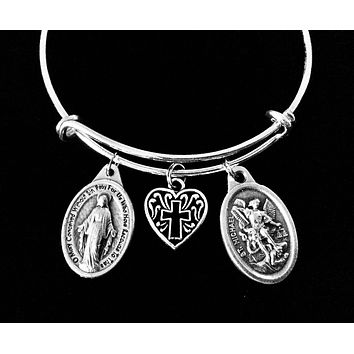 Miraculous Virgin Mary Jewelry Saint Michael Silver Expandable Charm Bracelet Adjustable One Size Fits All