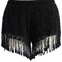 Fringed Lace Crochet Shorts in Black  Black S/M