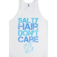 Salty hair don't care-Unisex White Tank