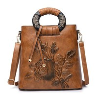 Women Vintage National Style Flower Print PU Leather Crossbody Bag