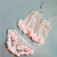 Sakura Sheer Pink Tulle Set With Petal Trim
