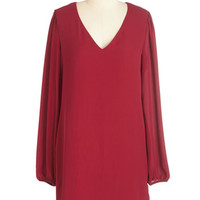 ModCloth Vintage Inspired Mid-length Long Sleeve Shift Perfected Poses Dress