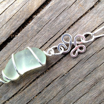 Seafoam Green Sea Glass Flower Necklace by SeaglassReinvented