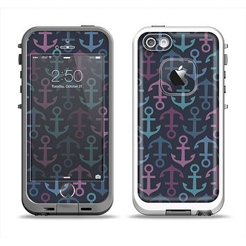 The Blue & Pink Vector Anchor Collage Apple iPhone 5-5s LifeProof Fre Case Skin Set