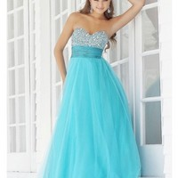 A-line Strapless Sweetheart-neck Crystal Beaded Floor-Length Tulle Prom Dress