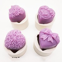 3D Heart Rose Silicone Soap Candle Chocolate Mold 4 Styles Heart Love Rose Flower Polymer Clay Molds Crafts DIY Forms For Soap FREE SHIPPING