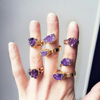 Valentine's day Purple druzy ring | Boho gold crystal stone ring | Ajustable natural purple quartz ring | Boho statement cocktail ring