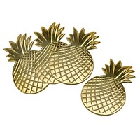 S/4 Gold Pineapple Coasters