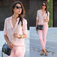 Fashion Ladies Stand Collar Solid Slim Casual Traveling Shirt Blouse