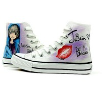 Hand Painted Justin Bieber High Top Canvas Sneakers Shoes