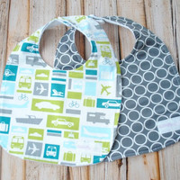 Set of 2 Baby Boy Vintage Bibs- Transportation and Pewter Rings- Baby Gift- Shower present