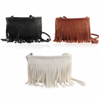 Feitong Hot Sales Women Fashion Tassel Cross Body Shoulder Bag Messenger Clutch Baguette Handbag Satchel Free Shipping