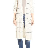 Halogen® Stripe Rib Knit Long Cardigan (Regular & Petite) | Nordstrom