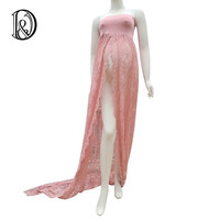 (170cm) Maternity Lace Shoot Split Front Style Gown Free Size Stretch Maternity Dress Photo Props Baby Shower Gift