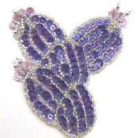 """Cactus with Purple Sequins and Lavendar Flowers 3"""" x 3"""""""