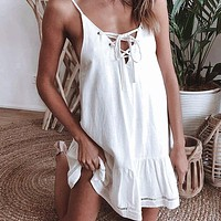 Spaghetti Strap Sexy Women Dress Ruffles Lace Up Casual Dress Solid Hollow Out Dresses