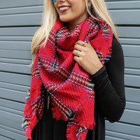Castle Walls Red Classic Plaid Raw Edge Blanket Scarf