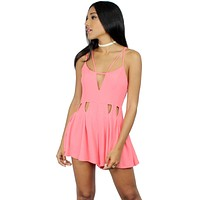 See Ya There Coral Strappy Romper