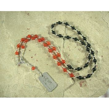 Set Prayer Bead Necklace in Carnelian and Onyx: Egyptian God of Change, Chaos, Battle