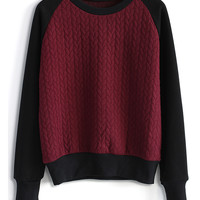 Embossed Jumper in Wine Red S/M