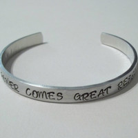 "Custom hand stamped aluminum bracelet cuff 1/4"" by 6"" with great power comes great responsibility Spiderman"