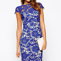 Pencil Lace Overlay Midi Dress