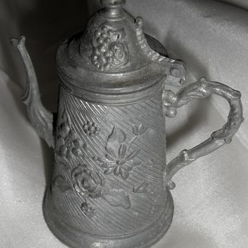 Victorian Doll Pewter Coffee Pot w Hinged Lid
