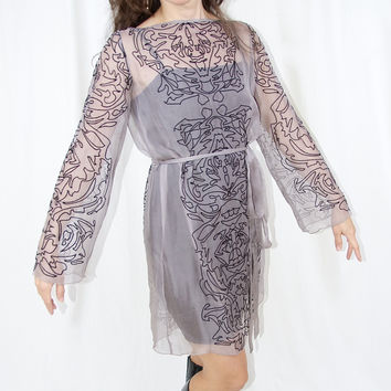 Analili Long Sleeve Sheer Silk Dress