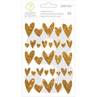 Seven Paper and Studio Calico: 31 Gold Glitter Hearts Chipboard Stickers for Mixed Media, Crafts