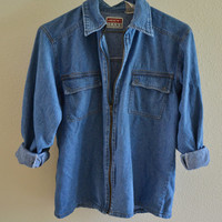 Zipper Denim Jacket Top Vintage 90s Oversized M