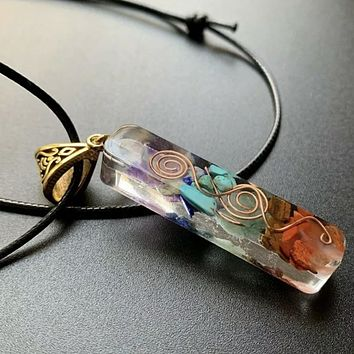 7 Chakra Orgonite Energy Generator with Copper Coil Necklace