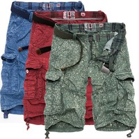 's Pants  Style   Camping  Printed Multi-pocket Cotton Knee-Length shorts Size S-4XL