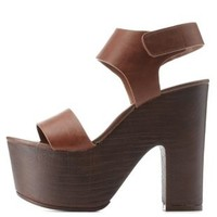 Lt Brown Chunky Wooden Platform Sandals by Charlotte Russe