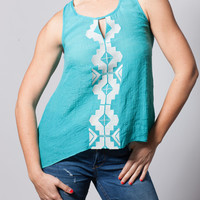 High-Low Center Embroidered Tank in Teal
