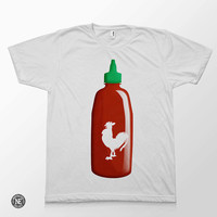Sriracha Hot Sauce - White Unisex T-Shirt - Sizes - Medium Large