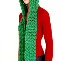 Green Crochet Scoodie. Green Hooded Scarf. Chunky Hooded Winter Scarf. Free US shipping