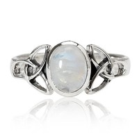 925 Sterling Silver 9 mm Genuine White Oval Moonstone Celtic Band Ring - Nickel Free Size 6