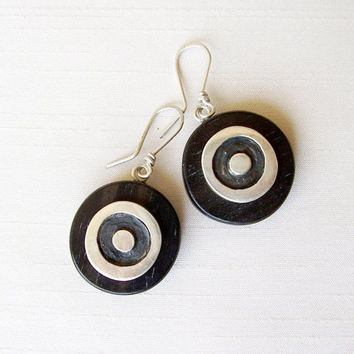 SALE - Sterling Silver and Ebony Earrings - Organic Circles Round Earrings - Black and Silver - Wood Earrings - Contemporary Jewelry