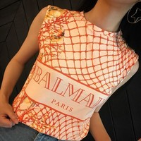 Balmain Women Fashion Grid Letter Print Vest Sleeveless Buttons Decoration T-shirt Tops
