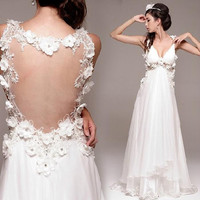 Backless lace prom dress, Formal evening dress, Long prom dress with straps, Bridesmaid dress Wedding dress,
