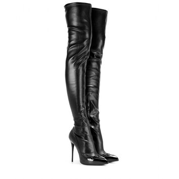 Leather and patent leather over-the-knee boots