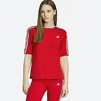 Adidas Summer Fashionable Woman Casual Print Short Sleeve Top Shorts Set Two Piece Red
