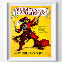 Disneyland Poster, Vintage Disneyland, Pirates of the Caribbean, Disney, New Orleans Square, Restored, Restoration, Fathers Day Gift