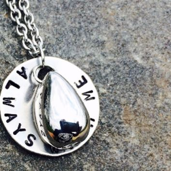 """Hand Stamped Stainless Steel Cremation """"Teardrop"""" Urn Necklace Jewelry"""
