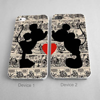 Couples Case Minnie And Mickey Silhouette Couples Phone Case iPhone 4/4S, 5/5S, 5C Series - Hard Plastic, Rubber Case