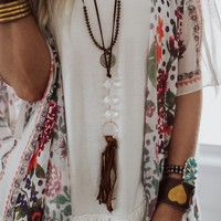 Crystal River Tassel Necklace - Brown